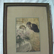 Captivating Print of Mother Father and New Baby Circa 1920's