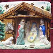 Porcelain Religious Nativity Scene Lamp