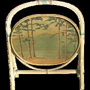 SALE Tilt Top Wicker Table with Original Hand Painted Landscape Top