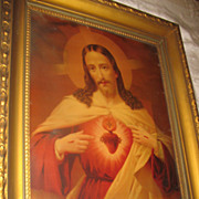 Sacred Heart Of Jesus Religious Lithograph Circa 1900 Large Religious Print