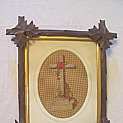 Antique Victorian Punch Paper Sampler of a Religious Cross with Needlepoint and Beads Circa ..