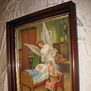 Large Antique Victorian Guardian Angel Chromolithograph Deep Walnut Frame