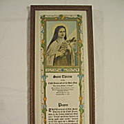 Vintage Saint Therese  Religious Print and Prayer Circa 1924
