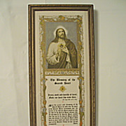 The Blessing of the Sacred Heart  Jesus Motto Prayer  Print