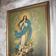 The Immaculate Conception Print  Circa 1920's Artist Morillo
