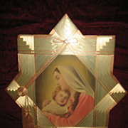 Madonna and Child Jesus Print with Unique Satin Ribbon Frame Circa 1920's