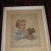 SOLD Pals at Prayer Print Little Boy and His Dog Praying Circa 1940's Artist Kasabach