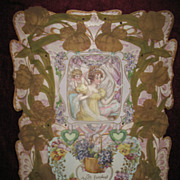 Antique Victorian Large  Mixed Media Card With Fondest Love Circa 1900