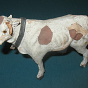 Toy Cow Paper Mache and Wood  Circa 1900