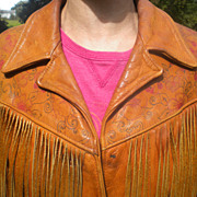 SALE Rare Exceptional 1970's Ladies Tooled Leather  Fringed Jacket