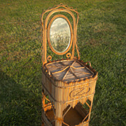 SALE Very Rare Antique Wicker Sewing Stand With Mirror Wakefield Rattan Company Label Circa 18