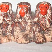 Japanese Bankoware Three Monkeys Speak Hear See No Evil  Occupied Japan