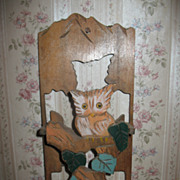 Unique Wooden Owl Letter Holder Original Colors Circa 1920's