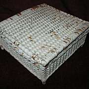 Wicker Sewing Basket or Trinket Box Circa 1920's