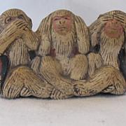 Japanese Bankoware Three Monkeys Speak Hear See No Evil