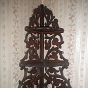 Antique Victorian Walnut Hanging Corner Shelf Curio Display