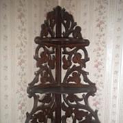 SALE Antique Victorian Walnut Hanging Corner Shelf Curio Display