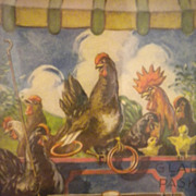 SALE Comical Print Chickens, Roosters, Chicks, Playing Game Circa 1920's