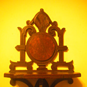 Antique Walnut Victorian Hanging Shelf w Burl Medallion Circa 1880's