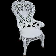 Ornate Antique Victorian Heart Back Wicker Arm Chair Circa 1890's