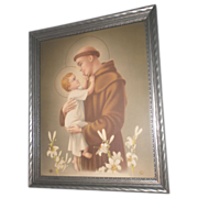 Saint Anthony of Padua with Baby Jesus Print Circa 1920's