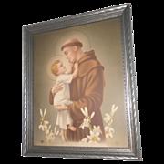 Vintage Saint Anthony of Padua with Baby Jesus Print Circa 1920's