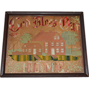 God Bless Our Home Punch Paper Motto Hand Stitched Circa 1980's