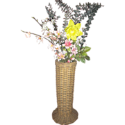 Wicker Tall Vase with Original Metal Liner Circa 1900