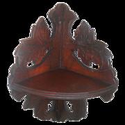 SALE Walnut Victorian Leaf Carved Hanging Corner Shelf Circa 1890's