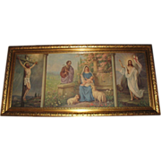 SALE Vintage Extra Large Triple Scene The Crucifixion, The Holy Family and The Resurrection