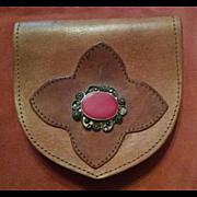 Vintage Leather Pouch Worn on Belt Circa 1940s
