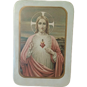 Sacred Heart of Jesus Printed on Tin Circa 1920's