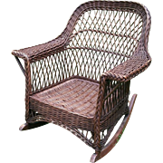 Bar Harbor Natural Wicker Arm Rocker Circa 1920's