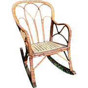 SALE Very Rare Victorian Child's Wicker Rocker Circa 1860's