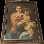 SALE Religious Print of Mary Holding Baby Jesus Circa 1920's