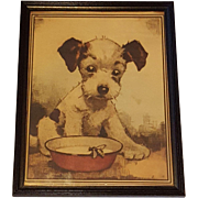 1940's Print Adorable Pup Looking at  a Bumble Bee