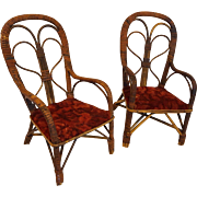 Very Rare Pair of Antique Wicker Doll Chairs  Circa 1890's