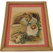 Antique Mother Bunny Print Circa 1908