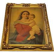 Very Large Antique Lithograph of Mary and Jesus Circa 1900