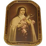 Saint Teresa Print The Little Flower in Lovely Frame Circa 1920's