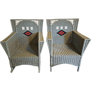 Pair  Art Deco Wicker Chair and Rocker  Circa 1920's