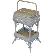 Antique Ornate Victorian Wicker Sewing Stand Circa 1890's