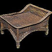 Vintage Bar Harbor Natural Wicker Ottoman Footstool Circa 1920's