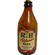 REDUCED R & H Pilsner Beer Bottle Staten Island Brewery