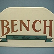 SALE Wood Advertising Sign for Bench Casual Wear 50% OFF