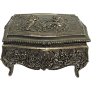 SALE Jewelry Keepsake Box Cast Metal Repose Lid and Sides