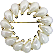 REDUCED TRIFARI Faux Pearl Circle Pin