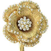 SALE Flower Pin with Faux Seed Pearl Beading