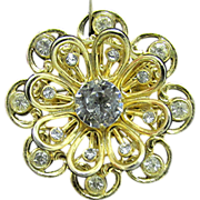 SALE CORO Rhinestone Flower Pin