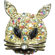 REDUCED Cat Pin or Brooch Red Eyes and Aurora Rhinestone Face
